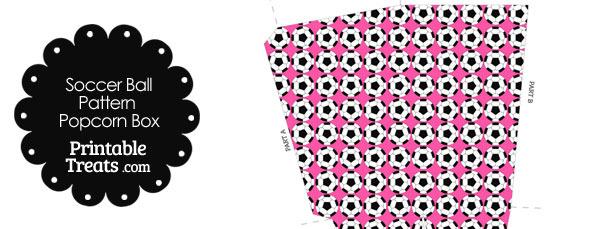 Pink Soccer Ball Pattern Popcorn Box