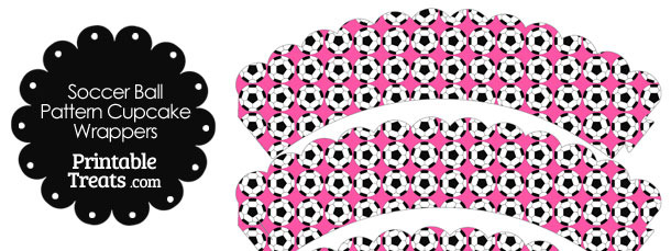 Pink Soccer Ball Pattern Scalloped Cupcake Wrappers