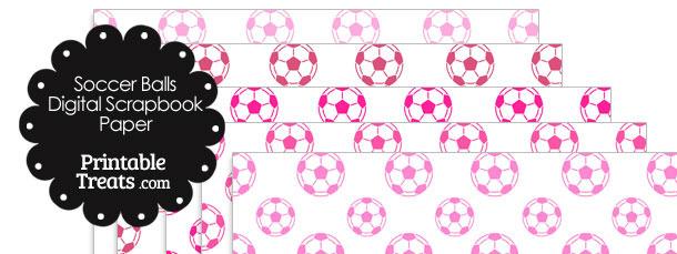 Pink Soccer Digital Scrapbook Paper