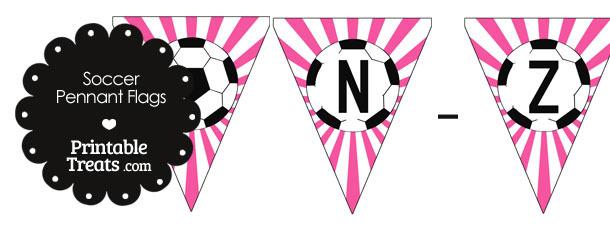 Pink Soccer Party Flag Letters N-Z