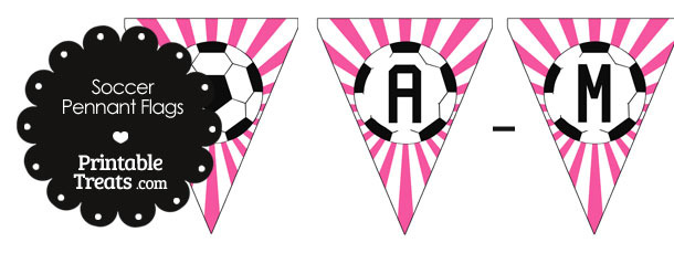Pink Soccer Pennant Banner Flag Letters A-M