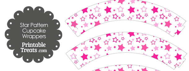 Pink Star Pattern Cupcake Wrappers