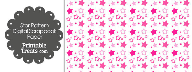 Pink Star Pattern Digital Scrapbook Paper