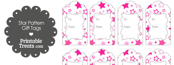 Pink Star Pattern Gift Tags