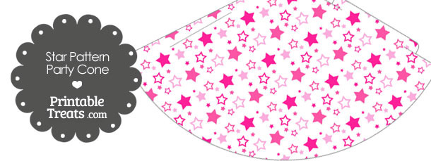 Pink Star Pattern Party Cone