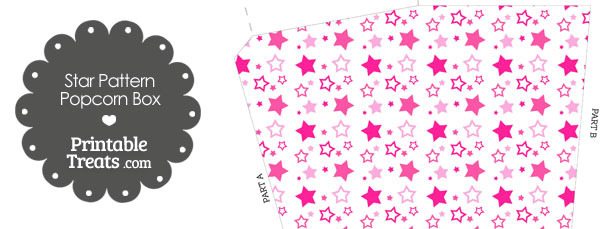 Pink Star Pattern Popcorn Box