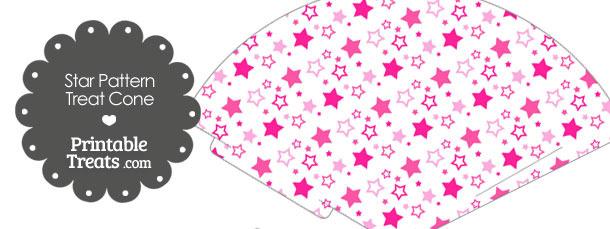 Pink Star Pattern Treat Cone