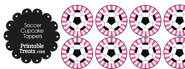 Pink Sunburst Soccer Cupcake Toppers