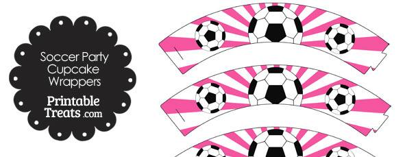 Pink Sunburst Soccer Cupcake Wrappers