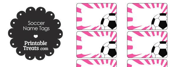 Pink Sunburst Soccer Name Tags