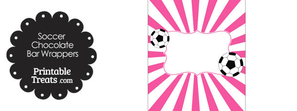 Pink Sunburst Soccer Party Candy Wrappers