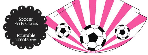 Pink Sunburst Soccer Party Cones