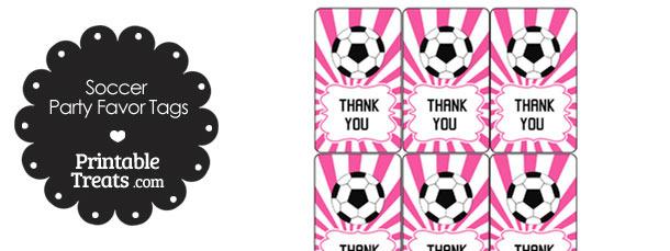 Pink Sunburst Soccer Party Favor Tags