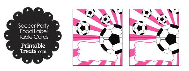 Pink Sunburst Soccer Party Food Labels
