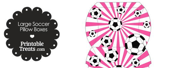 Pink Sunburst Soccer Party Large Pillow Boxes