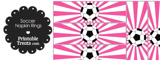 Pink Sunburst Soccer Party Napkin Rings