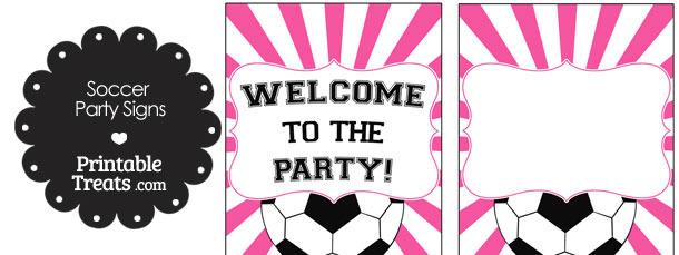 Pink Sunburst Soccer Party Signs