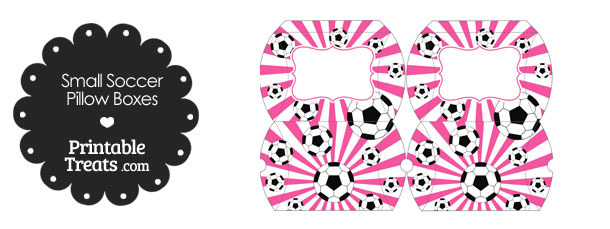 Pink Sunburst Soccer Party Small Pillow Boxes