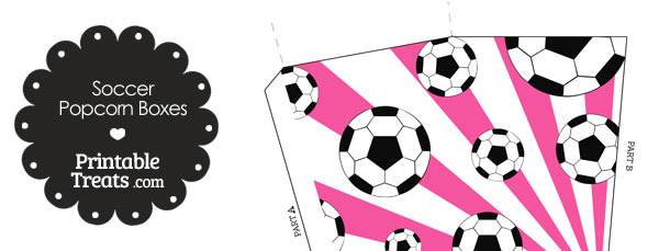 Pink Sunburst Soccer Popcorn Boxes
