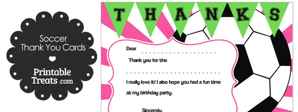 Pink Sunburst Soccer Thank You Cards