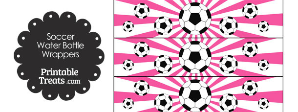 Pink Sunburst Soccer Water Bottle Wrappers