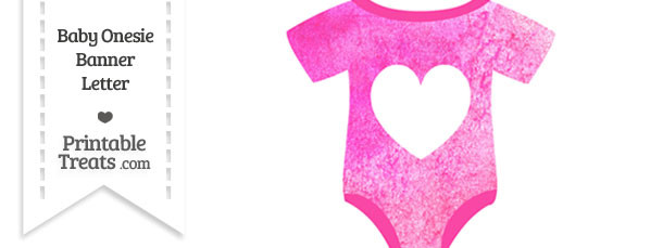 Pink Watercolor Baby Onesie Shaped Banner Heart End Flag