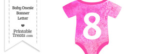 Free Pink Watercolor Baby Onesie Shaped Banner Letter 8