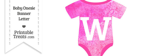 Pink Watercolor Baby Onesie Shaped Banner Letter W