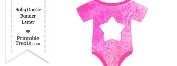 Pink Watercolor Baby Onesie Shaped Banner Star End Flag