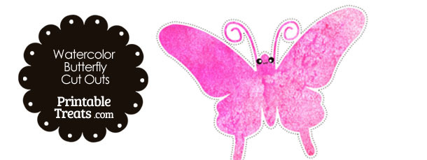 Pink Watercolor Butterfly Cut Outs