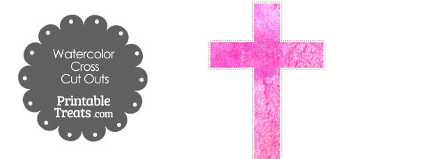 Pink Watercolor Cross Cut Outs