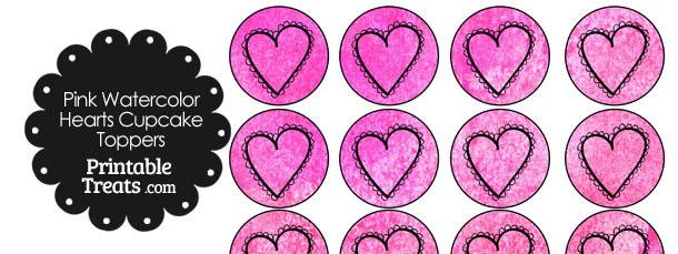 Pink Watercolor Heart Cupcake Toppers