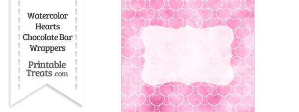 Pink Watercolor Hearts Chocolate Bar Wrappers