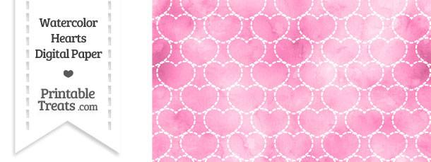 Pink Watercolor Hearts Digital Scrapbook Paper