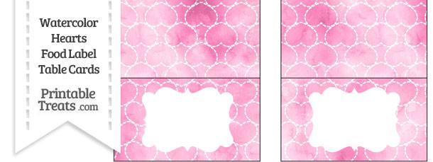 Pink Watercolor Hearts Food Labels