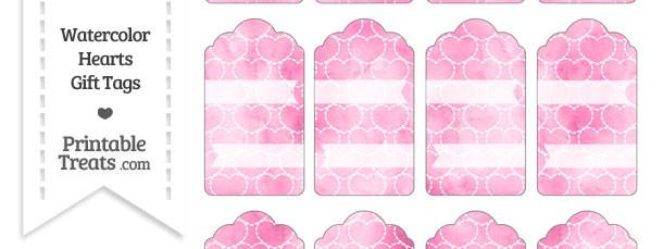 Pink Watercolor Hearts Gift Tags