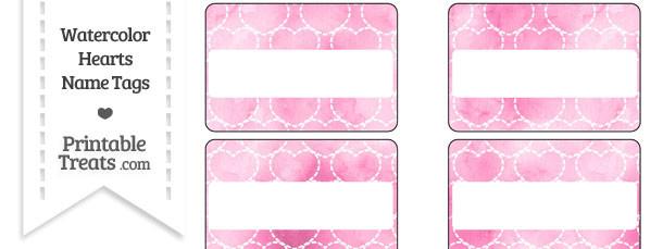 Pink Watercolor Hearts Name Tags