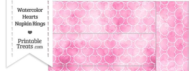 Pink Watercolor Hearts Napkin Rings