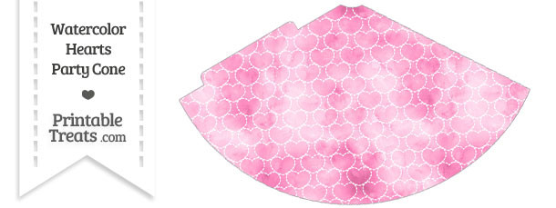 Pink Watercolor Hearts Party Cone