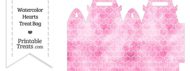 Pink Watercolor Hearts Treat Bag