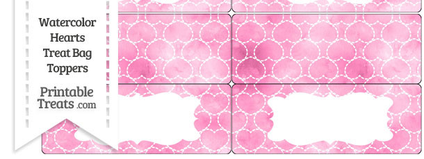 Pink Watercolor Hearts Treat Bag Toppers