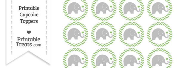 Pistachio Green Chevron Baby Elephant Cupcake Toppers