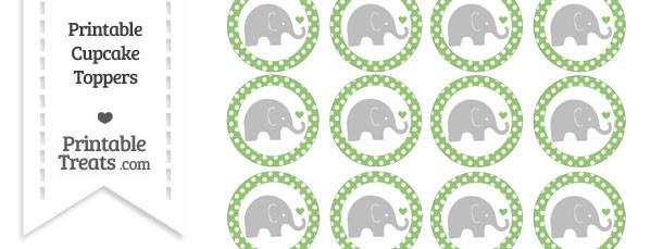 Pistachio Green Polka Dot Baby Elephant Cupcake Toppers