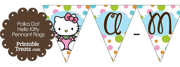 Polka Dot Hello Kitty Pennant Banner Flag Letters A-M