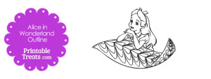 Printable Alice in Wonderland on a Leaf
