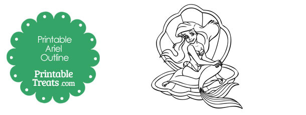 Printable Ariel on a Clamshell Outline