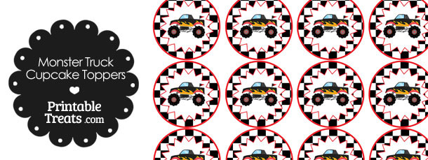 Printable Black Monster Truck Cupcake Toppers