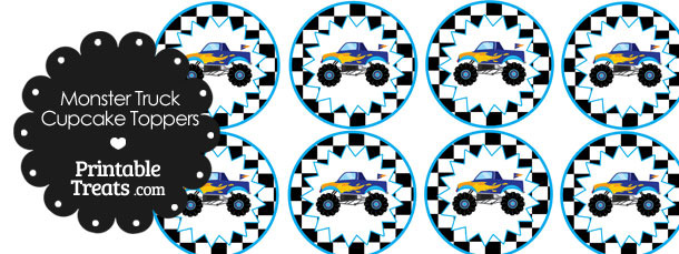 Printable Blue Monster Truck Cupcake Toppers