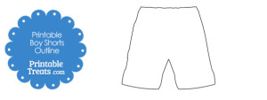 Printable Boy Shorts Shape Template