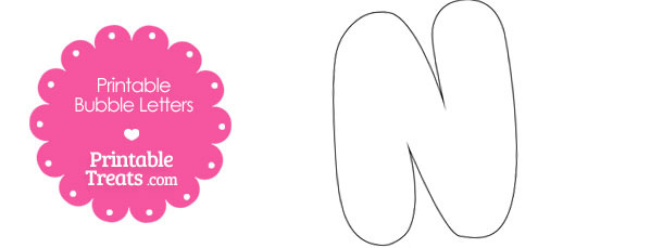 Printable Bubble Letter N Template
